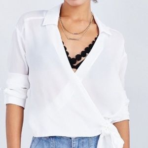 Lucca Side Tie Sheer Blouse Urban Outfitters Small